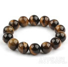14mm Natural Round Tiger Eye Beaded Stretch Bangle Bracelet
