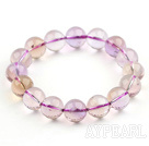 12mm Round A Grade Ametrine Beaded Stretch Bangle Bracelet with Laugh Buddha