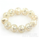 Big Style 16mm White Mosaic Shell Beaded Stretch Bangle Bracelet