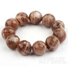 Big Style 18mm Faceted Sun Stone Beaded Stretch Bangle Bracelet