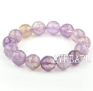 Purple Series 12mm Round Natural Faceted Ametrine Beaded Elastic Bangle Bracelet