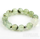 12mm Round Faceted Prehnite and Carved Clear Crystal Stretch Bangle Bracelet with Sterling Silver Accessories