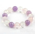 12mm Faceted Rose Quartz and Amethyst and Clear Crystal Beaded Stretch Bangle Bracelet