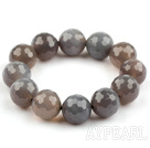 Big Style 16mm Faceted Gray Agate Beaded Stretch Bangle Bracelet