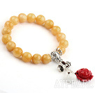 10mm Yellow Jade Stretch Bangle Bracelet with Pumpkin Shape Jade and Coral Lotus and Sterling Silver Accessories