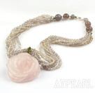 Faceted Gary Agate and Carved Rose Quartz Flower Pendant Necklace with Sterling Silver Accessories