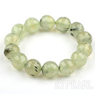 14mm Round Faceted Prehnite Beaded Stretch Bangle Bracelet