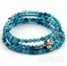 4mm Round Faceted Blue Agate Beaded Stretch Wrap Bangle Bracelet