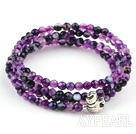 4mm Round Faceted Purple Agate Beaded Stretch Wrap Bangle Bracelet