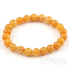 8mm Round Natural Yellow Jade Stretch Bangle Bracelet