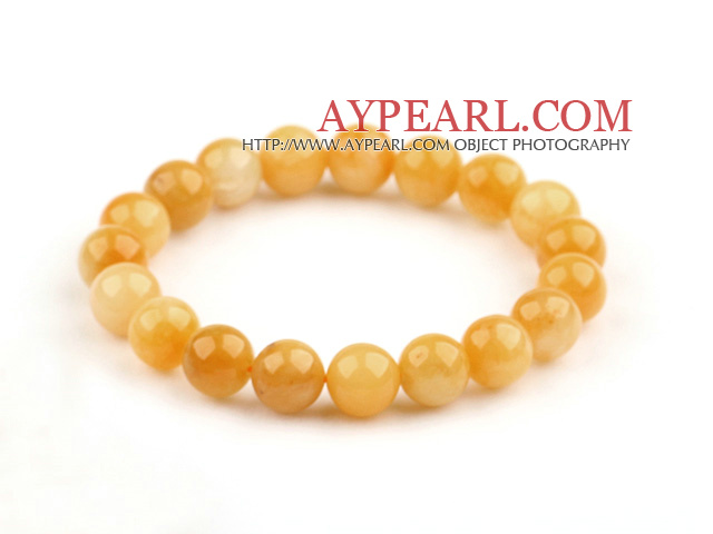 10mm Round Natural Yellow Jade Stretch Bangle Bracelet