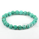 8mm Faceted Natural Turquoise Beaded Elastic Bangle Bracelet