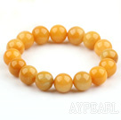 12mm Rund Natural Yellow Jade Stretch Bangle Armband