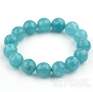 12mm Round Faceted Sponge Kyanite Beaded Stretch Bangle Bracelet
