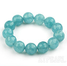 14mm Round Faceted Sponge Kyanite Beaded Stretch Bangle Bracelet