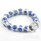 12mm Round Blue and White Porcelain Beaded Stretch Bangle Bracelet with Clear Crystal and Sterling Silver Accessories