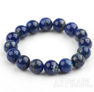 12mm Round Lapis Beaded Stretch Bangle Bracelet