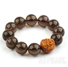 16mm Natural Smoky Quartz Beaded Stretch Bangle Bracelet with Leugh Buddha