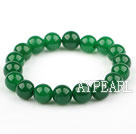 10mm Malaysia Green Jade Elastic Bangle Bracelet