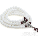 Natural White Sea Shell Rosary / Prayer Bracelet with Sterling Silver Accessory and A Grade Garnet ( Total 108 Beads )