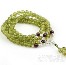 Natural Olive Rosary / Prayer Bracelet with Sterling Silver Accessory and A Grade Garnet ( Total 108 Beads )