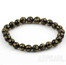 8mm Black Agate Buddhist Mantra Prayer Beads for Meditation Stretch Bangle Bracelet