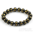 10mm Black Agate with Buddhist Mantra Prayer Beads for Meditation Stretch Bangle Bracelet