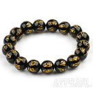 12mm Black Agate with Buddhist Mantra Prayer Beads for Meditation Stretch Bangle Bracelet
