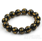 14mm Black Agate with  Buddhist Mantra Prayer Beads for Meditation Stretch Bangle Bracelet