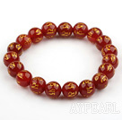 10mm Red Carnelian with Buddhist Mantra Prayer Beads for Meditation Stretch Bangle Bracelet
