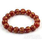 12mm Red Carnelian with Characters of Magic Charms Stretch Bangle Bracelet