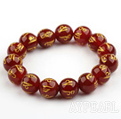 14mm Red Carnelian Stretch Bracelet with Buddhist Mantra Prayer Beads for Meditation