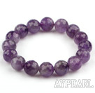 12mm Round Fasettert Amethyst Stretch Bangle Bracelet