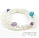 Faceted Opal Beaded Stretch Bracelet with Amethyst and Cyanite and Sterling Silver Beads( Can Also Be Worn As Necklace )
