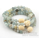 10mm Flower Aquamarine Beaded Stretch Bracelet with Corozo Nut Buddha's Head( Can Also Be Worn As Necklace )