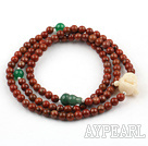 Red Stone Stretch Beaded Bracelet with Buddha's Head and Cucurbit Shape Aventurine and Green Agate ( Can also be Necklace )
