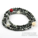 Blue Tiger Eye Stretch Beaded Bracelet with Corozo Nut Buddha's Head and Moonstone Lotus Shape Imitation Coral ( Can also be Necklace )