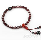 Wine Red Color Natural Garnet Prayer Bracelet with Black Agate and Carnelian( Rosary Bracelet )