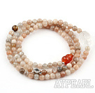 Sun Shone Beaded Stretch Bracelet with Clear Crystal and Tiger Eye and Carnelian and Sterling Silver Fish Accessory( Can also be Necklace )