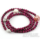 Purple Red Tiger Eye Beaded Stretch Bracelet with White Sea Shell and Pearl and Shell and Sterling Silver Elephant Accessory ( Can also be Necklace )