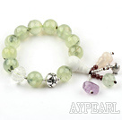 12mm Round Prehnite Stretch Bangle Bracelet with Pumpkin Shape Clear Crystal and Sterling Silver Accessories