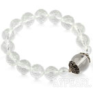 Wholesale Natural Faceted Clear Crystal Elastic Bangle Bracelet with Sterling Silver Accessory