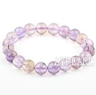 Purple Series 10mm Round Ametrine Beaded Elastic Bangle Bracelet