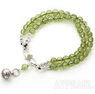 Two Rows Olivine Beaded Bracelet with Silver Clasp and Ring Accessory