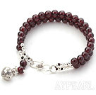 Two Rows Round Garnet Beaded Bracelet with Silver Beads and Ring Accessories