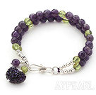 Two Rows Faceted Amethyst and Olivine Braclet with Silver Beads and Clasp