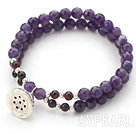 Wholesale Two Rows Round Faceted Amethyst and Garnet Stretch Bangle Bracelet with Silver Lotus Seedpod Accessory