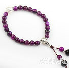 Natural Faceted Purple Agate Prayer Bracelet with Sterling Silver Pixiu Accessory( Rosary Bracelet)