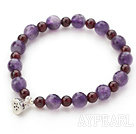 Singe Strand Round Garnet and Amethyst Stretch Bangle Bracelet with Silver Lotus Seedpod Accessory