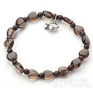 Singe Strand Heart Shape Smoky Quartz and Garnet Stretch Bangle Bracelet with Silver Fish Accessory